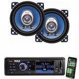 Pyle Radio Player and Speaker Package for Home, Studio, Car, Van, Truck, Mobile etc. - PLR33MPD AM/FM Band Radio USB/SD Receiver w/ Detachable Face - PL42BL 4'' 180 Watt Two-Way Speakers (Pair)