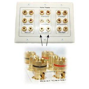 5 6 7.1/7.2 or 8.1/8.2 One or Two Subwoofer Compatible 16 Banana Post + 2 RCA Speaker Wall Plate for Home Theater Audio