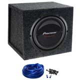 "Package: Pioneer Champion TS-W259S4 10"" 1200 Watt Peak / 350 Watt RMS 4 Ohm Car Stereo Subwoofer + Atrend E10S Dual 10"" MDF Vented Subwoofer Enclosure + Single Enclosure Wiring Kit With 14 Gauge Speaker Wire + Screws + Screws + Spade Termin"
