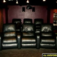 6 motorized leather Berkline 090's, all with Buttkickers. Front row curved, back row straight.