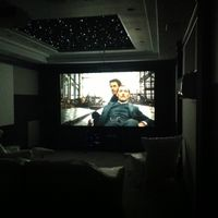 "133"" fixed screen.  Seven by ten foot ceiling star tiles."