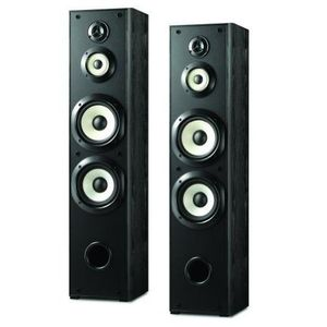 "Sony Powerful 180 watts 4-Way Floor Standing Speakers (Pair) with Dual 6 ½"" Mica Reinforced Woofers, 1"" Nano Fine Balanced Dome Tweeter and 3 ¼"" Enhanced H.O.P. Cone Mid Driver - Black Finish"