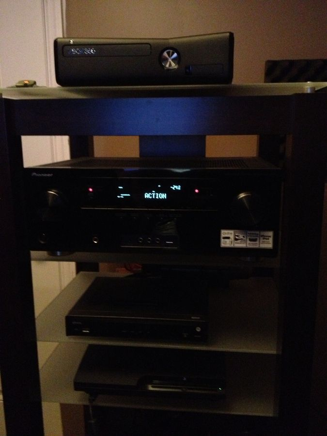 Xbox 360; pioneer 1021; motorola hd any room dvr; ps3 slim