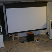 "My theather room with the following equipment: Sony 32w4000, Optoma HD20 1080p prjector with 92"" screen, Onkyo TX-NR1007, Arcam rDac, Elac FS 137 JET speakers, Usher S520II speakers x3, Svs PC13-ULTRA with Antimode 8033C, Philips BDP3100,..."