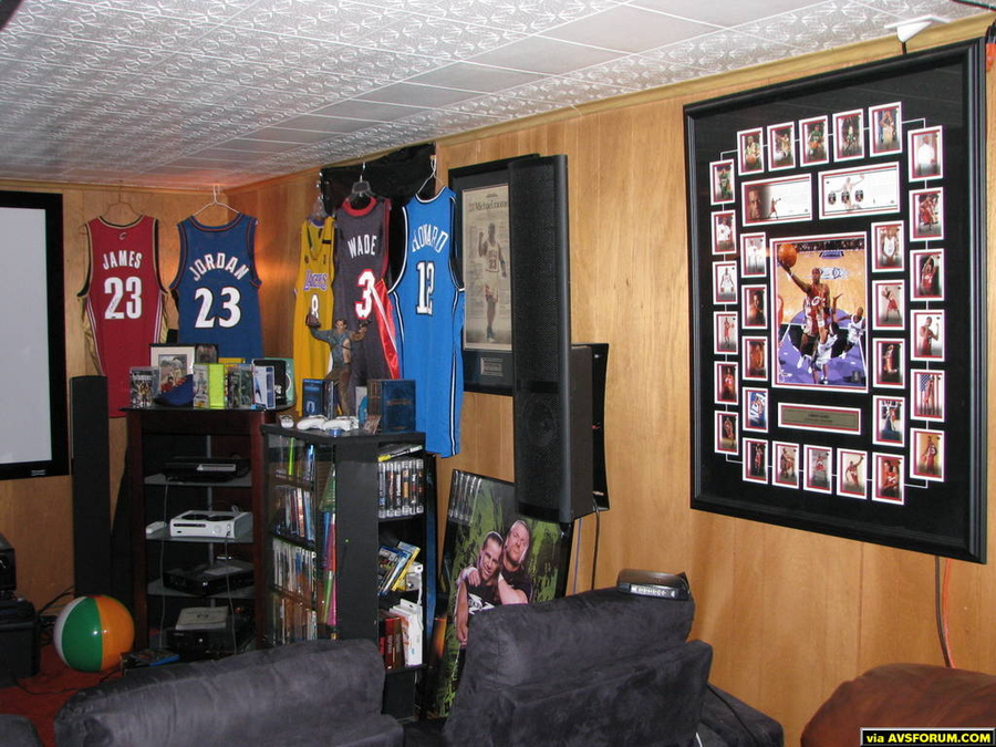 "Not much ""theater"" stuff on the walls, its all sports memorabilia and yes, its all signed."