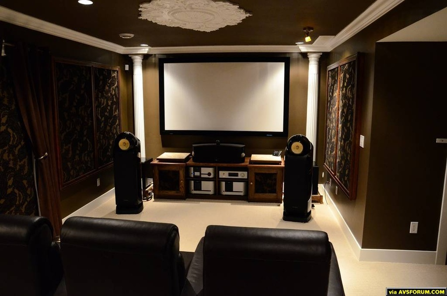 This is my first reference level theatre. I started with treating the room, it now measures flat within +/- 4dB. All millwork, cabinetry, panels, stands, and stage designed and built by hand. The room is a full 7.2 theatre using a JVC Reference...