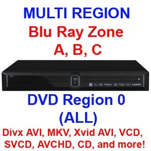 SW Multi region Blu Ray DVD player - Network, USB, HDMI, Component Video, Composite Video