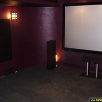 Front of theater with acoustical treatments.