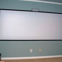 The screen is a 108x45.5 DIY and is the max size the projector will throw at the mounted distance.