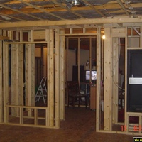 This is a pic of the back of the room. To the left will be built in shelving to hold cd's and dvd's, in the center is the entry door (6 panel oak) and to the right is the Middle Atlantic Rack that will house all the electronics.