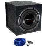"Package: Pioneer TS-W3002D2 12"" 3500 Watt Dual 2 ohm Car Subwoofer + Atrend 12SQL Single 12"" Sealed Subwoofer Enclosure + Single Enclosure Wire Kit With 14 Gauge Speaker Wire + Screws + Spade Terminals"