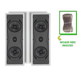 "Yamaha Custom Easy-to-install In-Wall Flush Mount 2-Way 150 watts Natural Sound Speaker Set (Pair of 2) with 1"" Titanium Dome Swivel Tweeter & Dual 6-1/2"" Kevlar Cone Woofers + 100 feet of Oxygen-Free Copper Speaker Wire"
