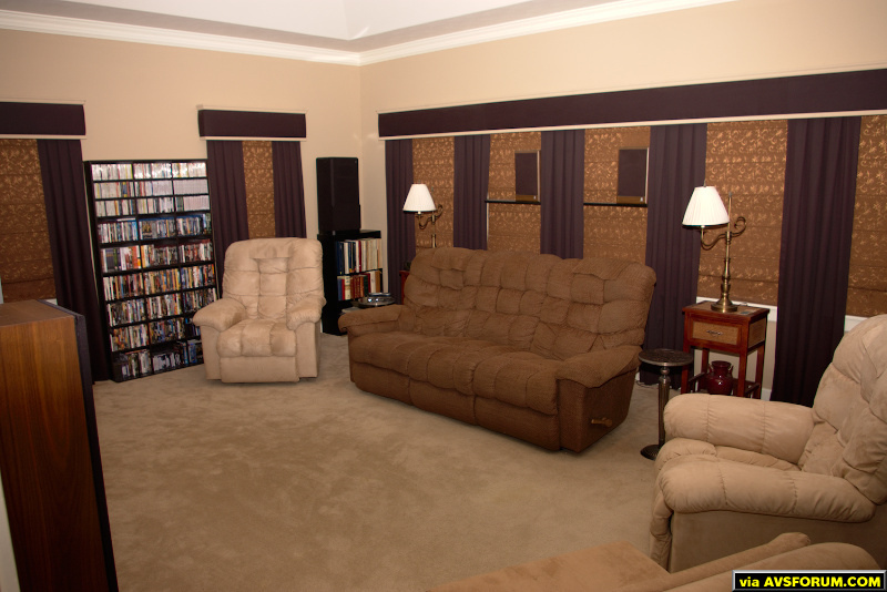 As you can see, the rear wall is all windows, which I've covered with two layers of rollup blinds and another layer of curtains. We rarely use the side recliners, prefering to remain in the 3-position sofa (recliners on the ends.) Overall, the...