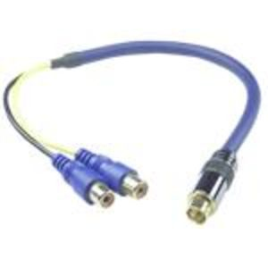 QVS CSV2RCAF 12-Inch Premium S-Video Male to 2 Female Adapter Cable