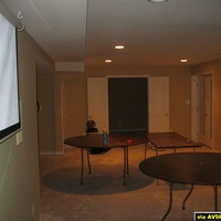 4 100 watt recessed lights to the right of the screen.  The lights are brigther in real life than they appear in photo