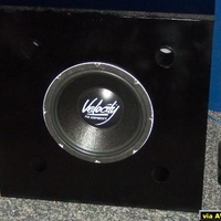 "Here's my first sub for the theater. I am planning possibly 2 more. This is one of my old competition dual voice coil Blaupunkt 12"" subs. I made the box bigger than I needed and used 4 x 2"" ports to tune the sub to 30Hz and wired at 8 ohms for..."
