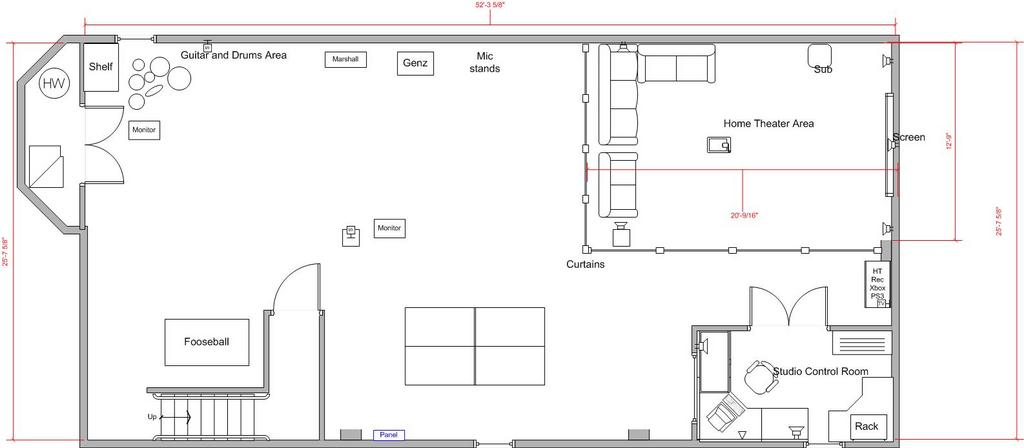 Music studio ht basement project input ideas welcome for Basement design layouts