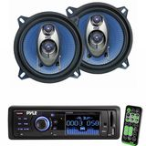 Pyle Radio Player and Speaker Package for Home, Studio, Car, Van, Truck, Mobile etc. - PLR33MPD AM/FM Band Radio USB/SD Receiver w/ Detachable Face - PL53BL 5.25'' 200 Watt Three-Way Speakers (Pair)