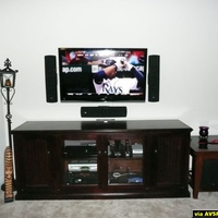"46"" Sharp mounted with Klipsch Ref RVX-42's, Eagle cabinet"