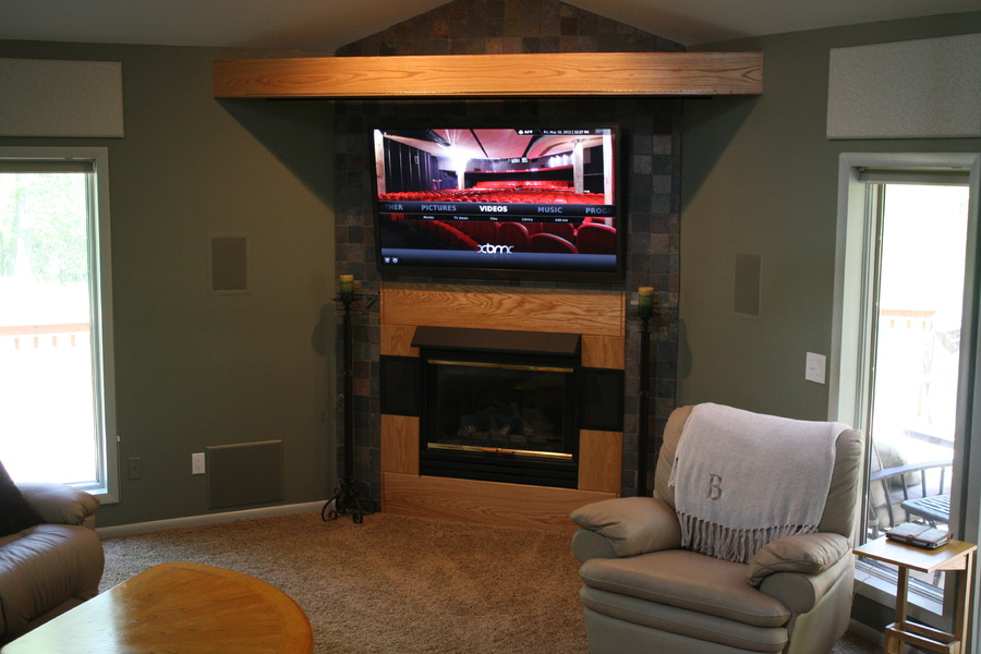 "Great Room area.  Main 59"" Samsung Plasma viewing screen.  7 Foot drop screen comes down from the beam above it."