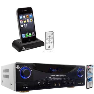 Pyle Stereo Receiver and iPod Dock Package PT590AU