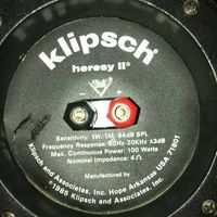 KLIPSCH HERESY II, circa 1986 BACK: notice 4 Ohm Nominal Impedance, Sensitivity 1W/1M 94 dB SPL