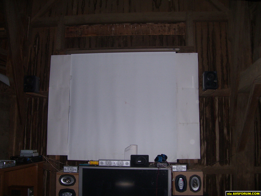 This is my projection screen in my barn theater. It is about eight feet across and allows about a 10 foot picture.