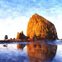 Haystack Rock. Cannon Beach, Oregon - Watercolor