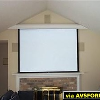 "100"" 4:3 ratio screen pulls down from behind custom built facia.