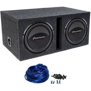 "Package: (2) Pioneer Champion TS-W309D4 12"" 2800 Watt Peak / 800 Watt RMS Dual 4 Ohm Car Subwoofers + Atrend E12DSV Dual 12"" MDF Vented Subwoofer Enclosure + Dual Enclosure Wiring Kit With 14 Gauge Speaker Wire + Screws + Spade Terminals"