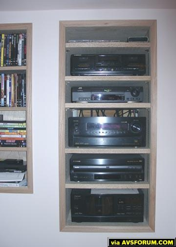 Denon 5600 Receiver is control center. Rack is directly accessible by louvered door at rear.
