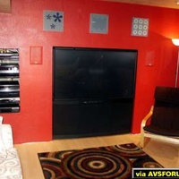 "65"" Mits HD RPTV, Mits DVD player and SVHS, Integra receiver and CD player, Paradigm Reference in-wall, Klipsch sub"