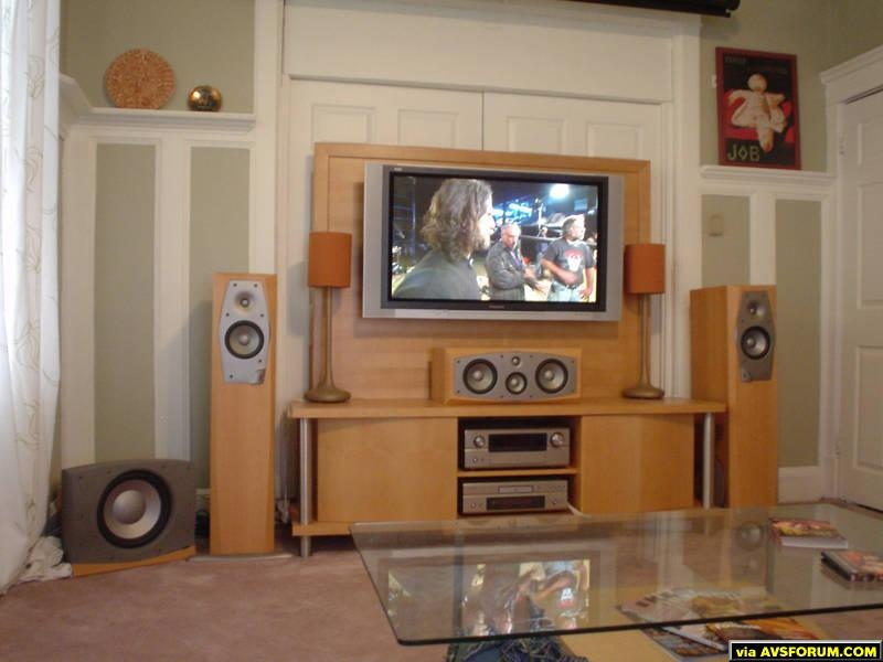 here is a pic with the speaker grills off and hd on the screen from my seating position...
