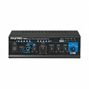 Pyle Home PTAU45 Mini 2x120 Watt Stereo Power Amplifier with USB/CD/AUX Inputs & with Mini Tool Box (cog)