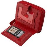 WalletBe CrocoEmbossed Leather Wallet w/ DigitalPhoto Viewer (Red)