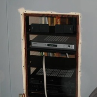Heres the rack after I added the inside oak trim and the shelves.