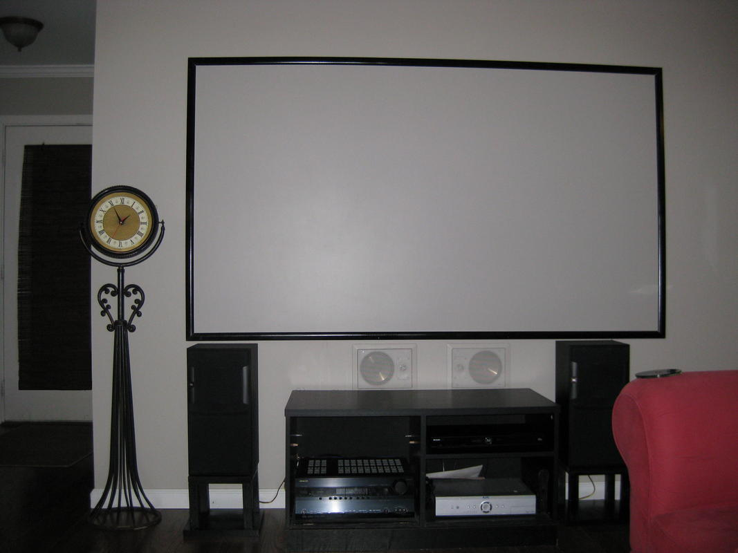 Our very modest diy home theater living room avs forum home theater discussions and reviews - Living room home theater ...