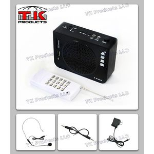 Aker Voice Amplifier &amp; Mp3 Player &amp; FM Radio 16watts Black MR-AK28 with Remote by TK Products,Portable, for Teachers, Coaches, Tour Guides, Presentations, Costumes, Etc.