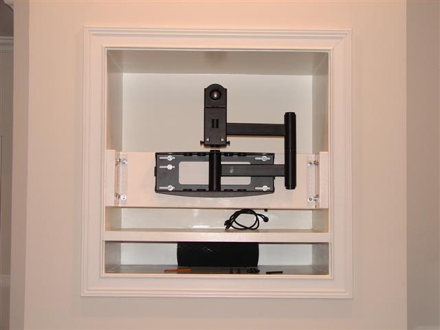 has anyone framed up studs in a tv niche to mount a plasma lcd avs forum home theater. Black Bedroom Furniture Sets. Home Design Ideas