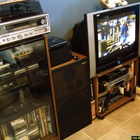 This is a re-aranged entertainment system. I got two new speakers, that are sitting on top of my older BIG speakers. The new ones are movie theater style, they were actually designed to be in a theater, and need a LOT of wattage, and amperage to...
