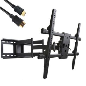 "VideoSecu Articulating Full Motion TV Wall Mount for 32""-65"" LED LCD Plasma TVs with VESA up to 600x400 mm, Dual Arm pulls out up to 25 Inch, with Leveling Adjustments, Free HDMI Cable A37"