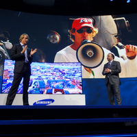 Director Micheal Bay was on stage to discuss the benefits of curved screens when watching Hollywood action movies