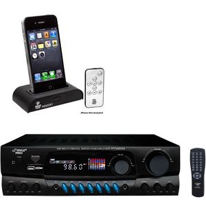 Pyle Stereo Receiver and iPod Dock Package - PT560AU 300 Watts Digital AM/FM/USB Stereo Receiver - PIDOCK1 Universal iPod/iPhone Docking Station For Audio Output Charging - Sync W/iTunes And Remote control