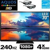 Sharp AQUOS Quattron 70 inch Class 3D TV - 2 Pairs of Active 3D Glassses
