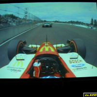 "This is an SD signal on my 100"" Da-lite Highpower screen. The screen shot is from a Champ Car race on CBS through my DirecTivo. I process the s-video output of the DirecTivo through my HTPC and dScaler 4. This is a pretty lousy example of SD..."