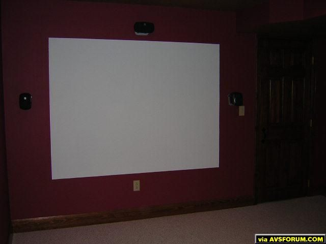 "Screen is 90"" diagonal, Logitech z-680 PC speakers.  Screen is Valspar American Tradition satin wall and trim ultra white 70544, 2 coats on top of two coats white primer."