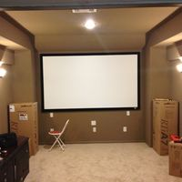 Equipment arriving... All speakers POLK TRIA line. 110 inch Elite Screen.