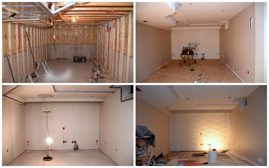 Construction: Upper left: framed Lower left: wired and dry wall up Upper right: Sanded, Painted, Sub-floor installed Lower right: Laminate flooring and 3D Panels installed