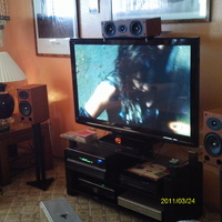 "Ah yes, such humble beginnings on my trek to better audio/video! Panasonic 50"" 720p tv, Mordaunt-Short Carnival 3 speakers! Not bad, but better things were surely to come!!"
