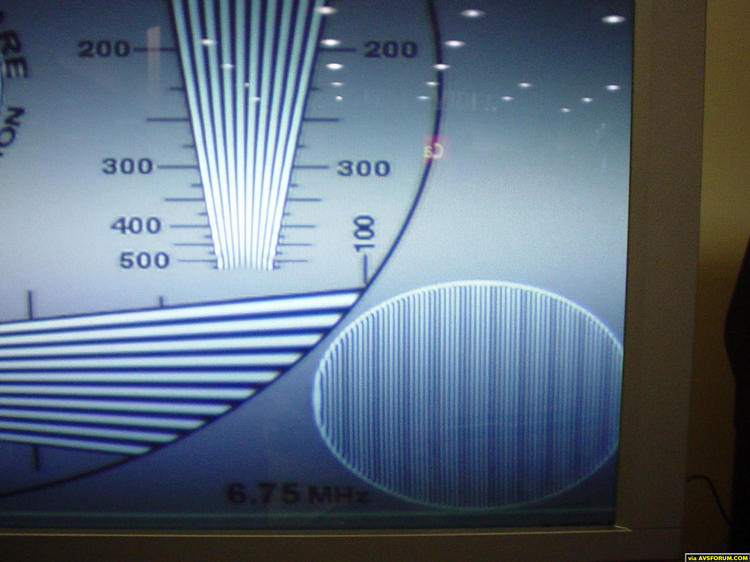 "This is a screen shot from a JVC DVD player on a Hitachi 51"" SWX20B RPTV.  The DVD player was outputing 480i into the tv, and this was a test for 480i to 540P Hitachi upconversion.  The set was on the showroom floor, uncalibrated other than..."
